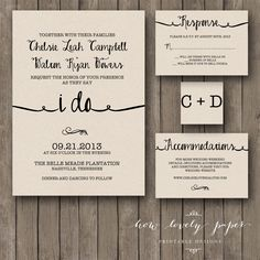 Printable Wedding Invitation Suite  the Ella by HowLovelyPaper, $25.00 #DonnaMorganEngaged