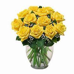 12 Yellow roses