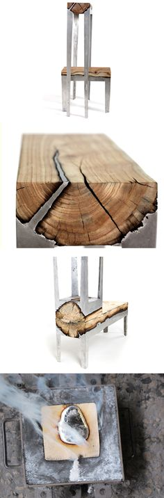Incredible aluminum and wood cast furniture by Hilla Shamia