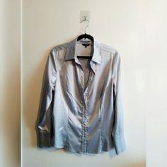 d1dbea46 SILVER SILK SHIRT • Silver shiny silk style shirt w/clear - Depop Shirt  Style