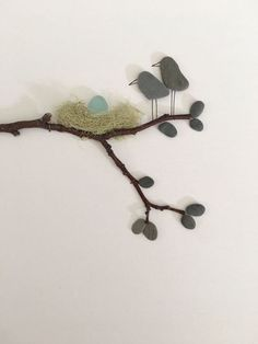 Pebble art by sharon nowlan 8 by 15 with sea glass egg and mommy and daddy birds… – morning meeting birds on a wire night sky bluepurple…pebble art rock art pebble art flower rock art…easy vintage christmas scene under glass Sea Glass Crafts, Sea Glass Art, Stained Glass Art, Fused Glass, Seashell Crafts, Beach Crafts, Stone Crafts, Rock Crafts, Arts And Crafts