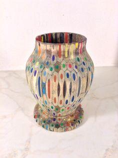 Colored Pencil Vase. Wood: colored pencils. @ Ansbach Artisans