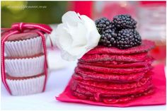 Red velvet pancakes   Cherrycino Red Velvet Pancakes, Raspberry, Valentines, Fruit, Vineyard, Desserts, Recipes, Food, Valentine's Day Diy