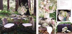 pretty outdoor birch wedding tables and centerpieces