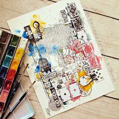 Art Journal Pages, Art Journals, Steampunk Cards, Mixed Media Art, Mix Media, Distressed Painting, Creative Writing, Doodle Art, Doodles