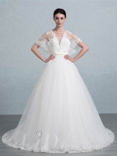 Butterfly Sleeves Ball Gown Wedding Dress