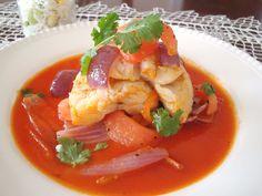 Peruvian Corvina a la chorrillana -- Sea bass with sauteéd vegetables, Chorrillos-style