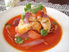 Peruvian Corvina a la chorrillana -- Sea bass with sauteéd vegetables, Chorrillos-style
