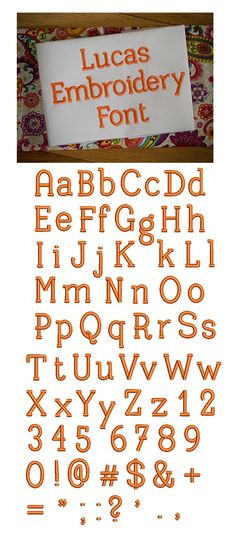 Lucas Embroidery Font  6 sizes included: .5 inch, .75 inch, 1 inch, 1.25 inch, 1.5 inch, and 2 inch