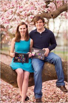 """The cutest """"Up"""" themed save the date!! Washington, DC cherry blossom engagement session by Brooke Tyson Photography"""