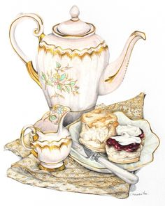 Scones with Clotted Cream and Strawberry Jam recipe - illustration by Alexandra Nea
