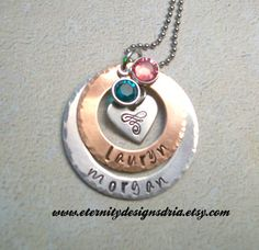 Handstamped Personalized Family/Mothers/Grandmother's Necklace/Mother's necklace/ Kids name necklace/Baby foot necklace/