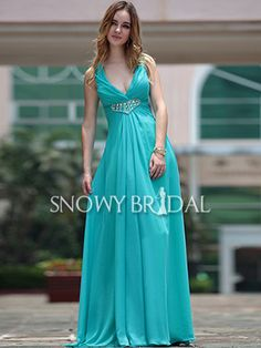 [US$159.29] Summer Sleeveless Chiffon A-Line Long Pleated bridesmaid gown