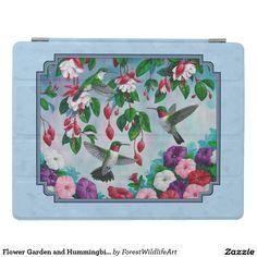 Flower Garden and Hummingbirds Blue iPad Cover