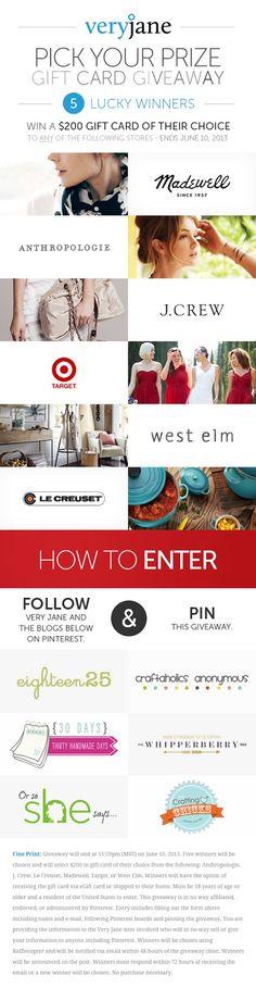 Pick Your Prize Giveaway - 5 people will win $200 Gift Cards to the store of their choice... choose between Anthropologie, Madewell, J. Crew, Target, west elm or Le Creuset!!