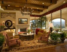 Mediterranean Family Room Beige Walls Design, Pictures, Remodel, Decor and Ideas - page 3 Tuscan Design, Tuscan Style, Ibiza, Accent Ceiling, Tuscan Decorating, Decorating Ideas, Family Room Design, Exposed Beams, Ceiling Beams