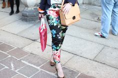 floral print pants  milan fashion week  street style