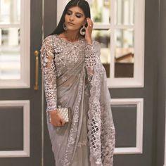 """super hit…"""" Pakistani saree by maria b Indian Bridal Outfits, Pakistani Bridal Wear, Indian Fashion Dresses, Indian Designer Outfits, Pakistani Outfits, Bridal Lehenga, Saree Designs Party Wear, Saree Blouse Designs, Modern Saree"""