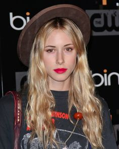 Gillian Zinser red lips and hat
