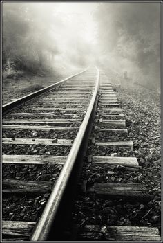 """by Paul Jolicoeur…train tracks…makes me think of """"Locomotive Breath"""".♥ what a classic! *by Paul Jolicoeur…train tracks…makes me think… Cool Pictures, Cool Photos, Beautiful Pictures, Line Photography, Train Tracks, Black And White Pictures, Belle Photo, Black And White Photography, Monochrome Photography"""