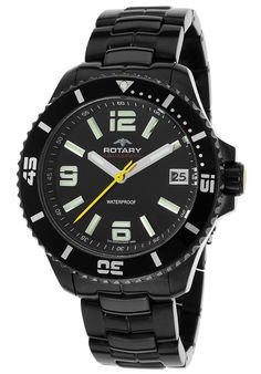 Rotary Watches Men's Aquaspeed Ion Plated Black Stainless Steel Black Dial AGB00085-W-04,    #Rotary,    #AGB00085W04,    #Diver