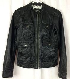 Lucky Brand Leather Jacket Black 4 Pocket Moto Biker Sz XS #7W31007 Butter Soft  | eBay