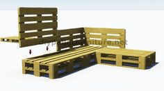 How to build a pallet sofa for the garden. This video is great and . Pallet Garden Furniture, Garden Sofa, Diy Outdoor Furniture, Deck Furniture, Recycled Furniture, Wood Pallet Couch, Pallet Seating, Banquette Palette, Home Deco