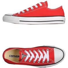 Converse Sneakers ($116) ❤ liked on Polyvore featuring shoes, sneakers, red, flat sneakers, round toe flat shoes, red sneakers, converse footwear and round cap
