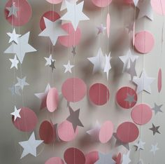 Paper Garland, 13 Feet Long, Pink and White Circles and Stars