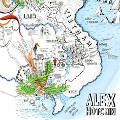 This week were promoting the mapmaking talent of (Check out Alexs website for an awesome selection of hand-drawn beautifully detailed artworks) by theydrawandtravel Pakse, Pictorial Maps, Weird And Wonderful, Cartography, Map Art, How To Draw Hands, Illustrated Maps, Drawings, Instagram Posts