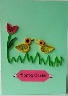 Handmade Easter Quilling card, lovely chicken with pink tulip, quilling paper, quilling art and craft, customized, persionalized by Hiquilling on Etsy