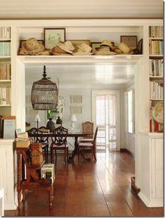 built in bookcases around doorway in bedroom 5 if we installed french doors