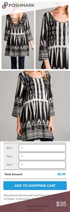 MULTI PATTERN DRESS OR TUNIC Cute multi pattern floral tunic or dress in black and white. Round neck, bell sleeves. Cute open strap back detail. Polyester/Rayon blend. tla2 Dresses Mini