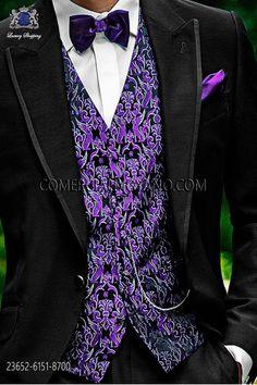 Chaleco moda negro-viola seda jacquard