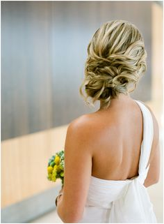 hair + one shoulder dress