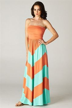 Colorblock Maxi Dress in Coral/Mint