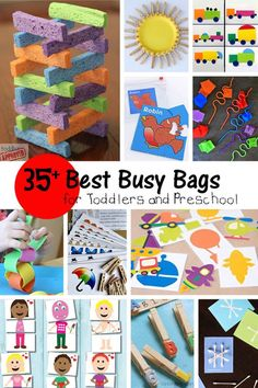 Best Busy Bags for Preschool and Toddlers is part of Older Kids Crafts Busy Bags - Keep kids occupied, quiet and learning with fun busy bags Kids learn while they play! These busy bags are perfect for preschool and toddlers Toddler Busy Bags, Toddler Play, Toddler Learning, Toddler Activity Bags, Toddler Games, Quiet Time Activities, Infant Activities, Car Activities For Toddlers, Indoor Activities