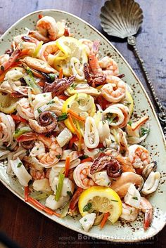 "MARINATED SEAFOOD SALAD ~~~ this recipe is shared from the restaurant, ""fresco by scotto"" in New York city. [Italy] [foodnetwork]"