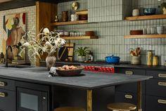 Jessica Davis' Midcentury Modern Home | Fireclay Tile Open Kitchen, Kitchen Dining, First Kitchen, Brick Show, Glazed Brick, Coloured Grout, Design Your Own Home, Thin Brick, Fireclay Tile