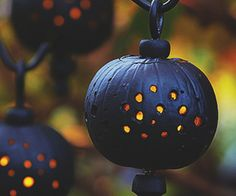 Light up a dark Halloween evening with pumpkins designed to resemble lanterns. You can quickly make enough to use as path lights to help illuminate the way for late-night trick-or-treaters.