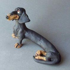Black and Tan Dachshund Ceramic Sculpture
