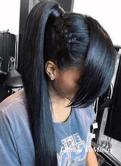 Long Black Ponytail With Side Braid Black Girl Ponytails, Fun Ponytails, Braided Ponytail . Side Ponytail Hairstyles, Ponytail Styles, Hairstyles With Bangs, Curly Hair Styles, Natural Hair Styles, Fringe Hairstyles, Hair Ponytail, Bangs Hairstyle, Hairdos
