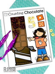 Count & mark the target Number of Chocolate Squares. - Pre-k Camping Worksheets