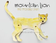 Mountain Lion Printable Craft Very nice! Animal Art Projects, Animal Crafts For Kids, Art For Kids, Toddler Crafts, Desert Animals, Jungle Animals, Desert Crafts, Lion Craft, North American Animals