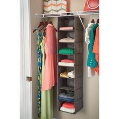 ClosetMaid 8 Shelf Hanging Closet Organizer Over The Door Organizer, Hanging Closet Organizer, Closet Organization, Shelf Organizer, Organizing, Clothes Shelves, Build A Closet, Closet Rod, Wire Shelving