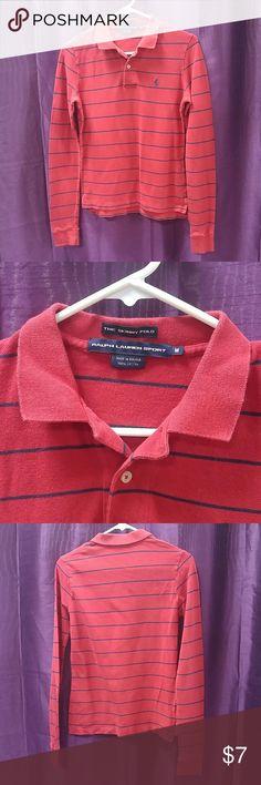 """The Skinny Polo"" Ralph Lauren Sport Mens Medium Gently worn slim fit men's shirt. Dark red with navy blue stripes. Ralph Lauren Shirts"