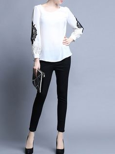 White Paneled Cotton Long Sleeved top