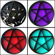 Black Pentagram Shelving Unit Circular with Purple Background 60cm - From ANGEL CLOTHING