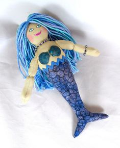Mermaid Doll With Blue, Purple & Turquoise Hair - Art Doll - Toy Mermaid Doll Wit Mini Monster, Monster Dolls, Doll With Hair, Turquoise Hair, Black Mermaid, African American Dolls, Mermaid Dolls, Asian Doll, Doll Maker