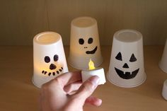 upcycling Kunststoffbecher-Windlichter Halloween